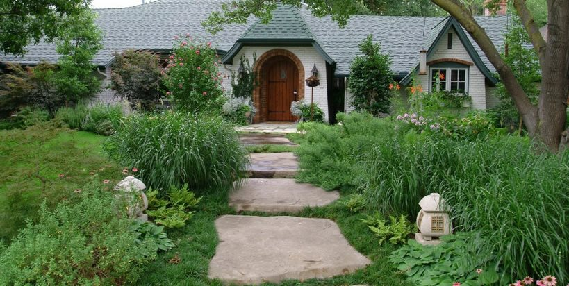 Front, Garden, Walkway, Concrete, Stone Front Yard Landscaping Bonick Landscaping Dallas, TX