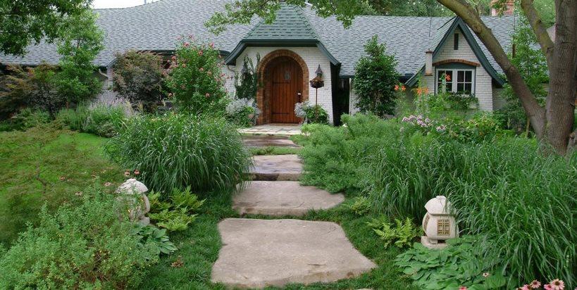 Front, Garden, Walkway, Concrete, Stone Front Yard Landscaping Bonick Landscaping Dallas, TX