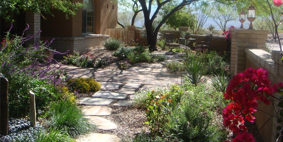 Garden Walkway Front Yard Landscaping Casa Serena Landscape Designs LLC Las Cruces, NM