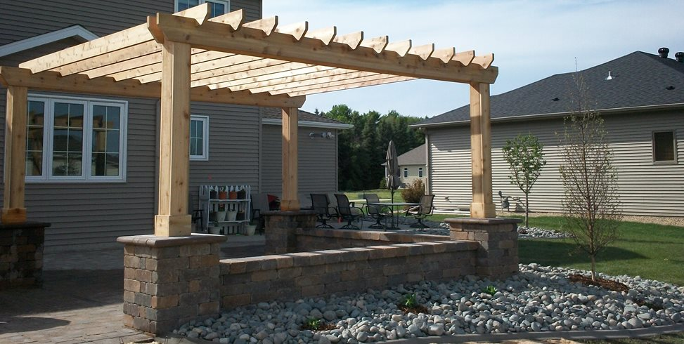 Cedar Patio Cover, Block Columns, Unfinished Patio Cover Pergola and Patio Cover Signature Landscapes Inc. Fargo, ND