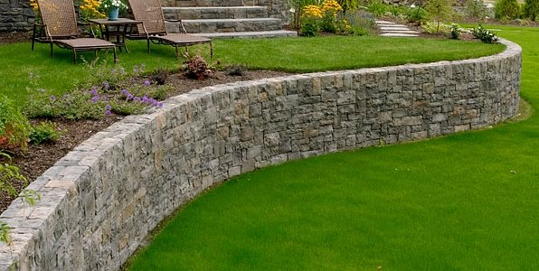 curved retaining wall retaining and landscape wall big sky landscaping inc portland or - Landscape Design Retaining Wall Ideas