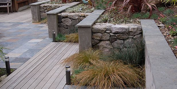Garden Walls, Materials, Stone, Stucco Retaining and Landscape Wall Huettl Landscape Architecture Walnut Creek, CA