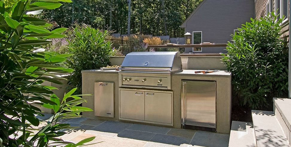 Backyard Small Outdoor Kitchen Swimming Pool Barry Block Landscape Design & Contracting East Moriches, NY