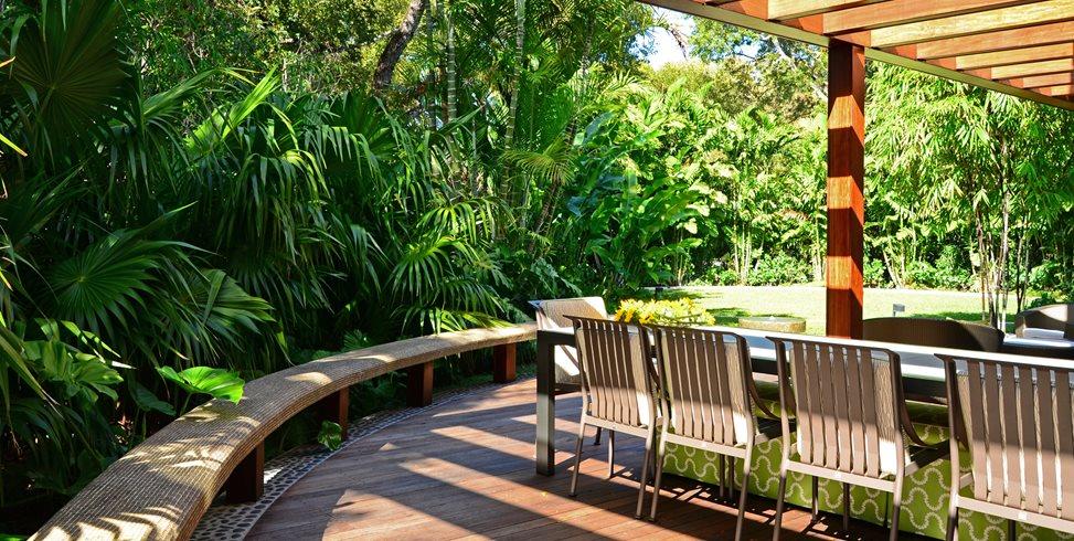 Ipe Deck, Dining Deck, Deck Bench Swimming Pool Lewis Aqui Landscape + Architectural Design, LLC. Miami, FL