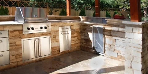 Outdoor Kitchen Stone Veneer Swimming Pool Arcadia Design Group Centennial, CO
