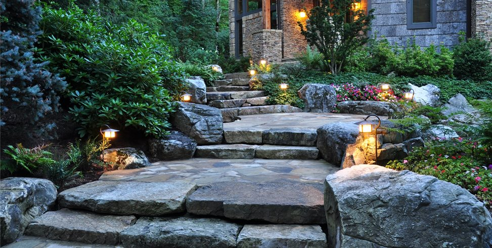 Stone, Boulders, Path, Front, Entrance, Lighting Walkway and Path Greenleaf Services Inc. Linville, NC
