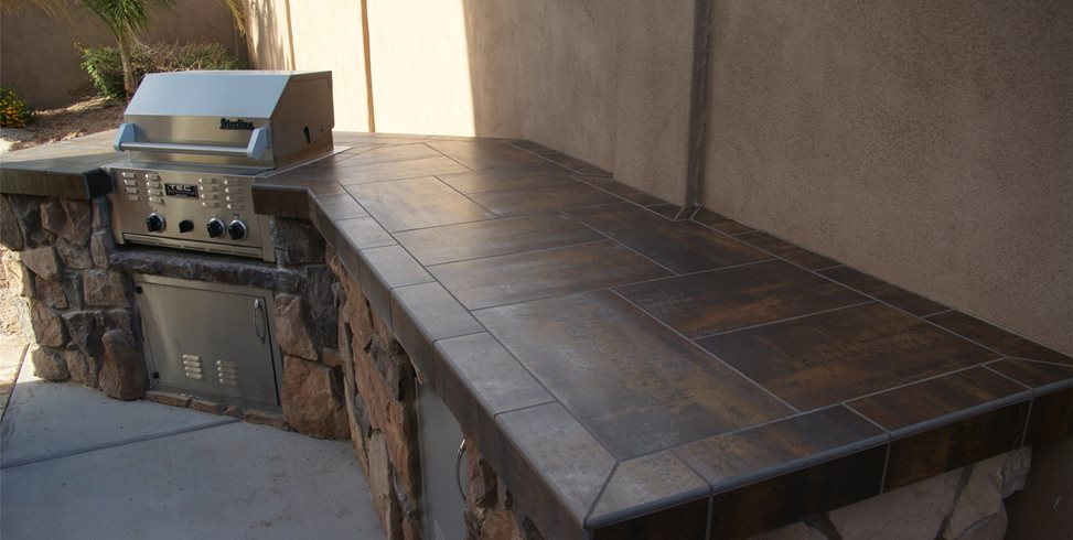 Tiled Bbq Outdoor Kitchen Alexon Design Group Gilbert, AZ