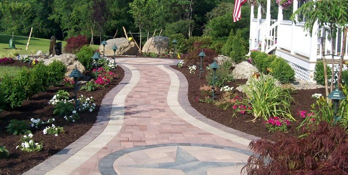 paver compass design walkway and path lehigh lawn landscaping poughkeepsie - Paver Walkway Design Ideas