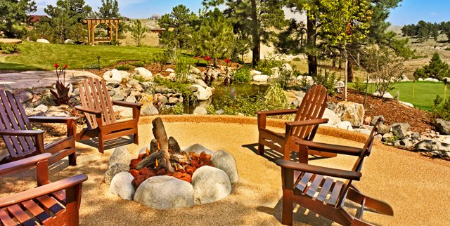 Boulder Fire Ring, Adirondack Chairs Fire Pit American Design & Landscape Parker, CO
