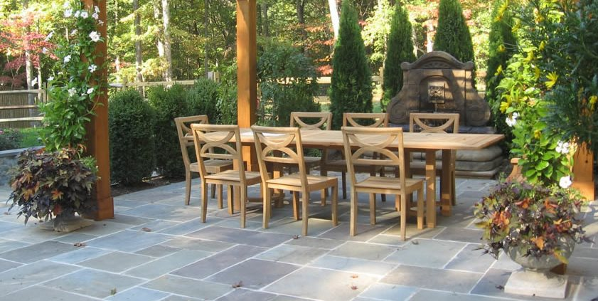 Flagstone Patio Gray Sisson Landscapes Great Falls Va