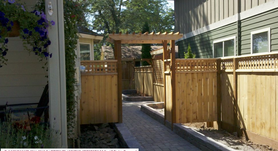 Wood Garden Arbor Swimming Pool Garden Planning Services, LLC Hillsboro, OR