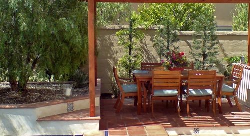 Small Backyard Pergola Studio H Landscape Architecture Newport Beach, CA
