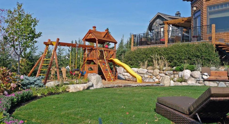 Backyard Playground, Swings, Slide DDLA Design Dallas, TX