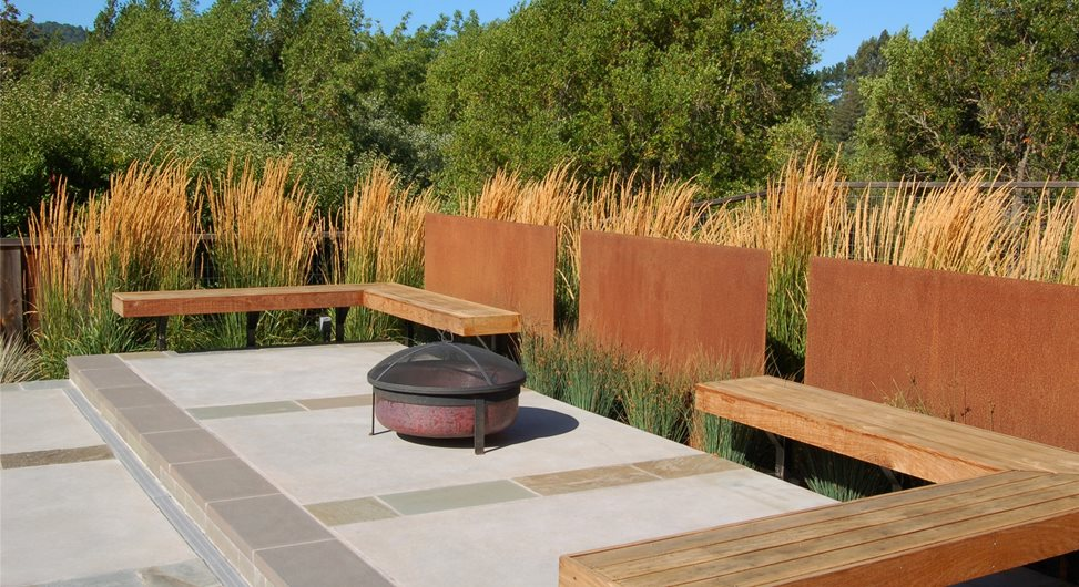Charmant Fire Pit Huettl Landscape Architecture Walnut Creek, CA. Built In Benches  ...