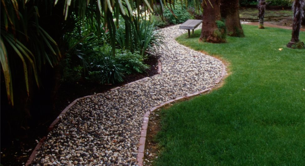 Gravel Walkway, French Drain Walkway and Path Maureen Gilmer Morongo  Valley, CA - Backyard Drainage Solutions - Landscaping Network