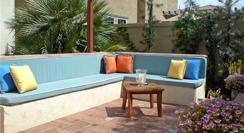 Built In Backyard Fireplace Bench Studio H Landscape Architecture Newport Beach, CA