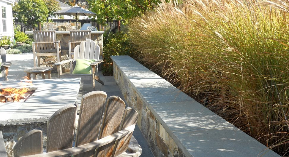 Fire Pit Seat Wall Shades of Green Landscape Architecture Sausalito, CA